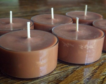 Indian Sandalwood Soy Tea Light Candles - Set of 6 Soy Tea Light Candles - Earthy Candles - Sandalwood Tea Lights - Woodsy Candles