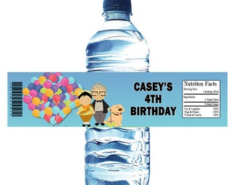 Up Birthday Party Water Bottle Wrapper Party Favor Digital or Printed FREE SHIPPING