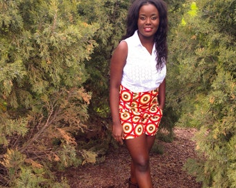 Ankara High Waist Feranmi Shorts
