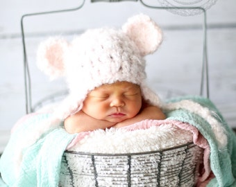 Soft and chunky pink bear earflap hat, bear earflap hat,