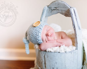 Crocheted newborn topknot hat, soft baby blue hat, baby photo prop, baby gift