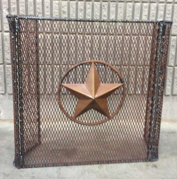 Fire Screen With Tin Star In Rope Look Outline Folding Side