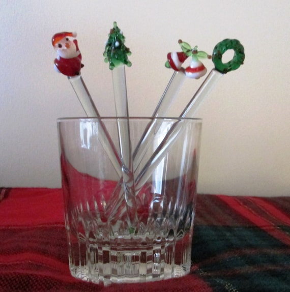 Christmas In A Glass Cocktail Of 4 Culver Glass Christmas Drink Stirrers Box Swizzle Sticks