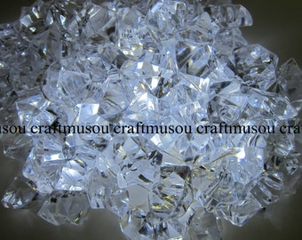 Bulk 10 Bag Crystal Clear Gem Stone ICE Rocks Confetti Wedding Reception Table Scatter Decoration