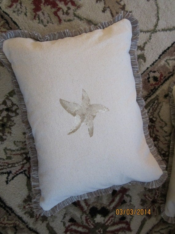 REDUCED!! Reversible starfish stencil pillow on cotton duck cloth and brush fringe 12 x 16