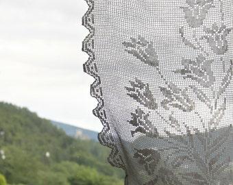 Filet italian crochet curtain panel for windows, floral pattern