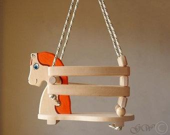 Wooden Handmade Horse Swing, Baby Swing, Handmade Children Toys Z301