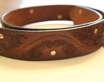 vintage leather tooled belt beautiful leather tooled belt