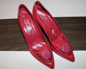 vintage red 9 west stephane kelian woven heels woven dream catcher heels sz 8