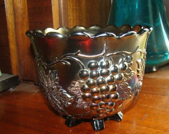 Amethyst Dugan Carnival Glass Footed Bowl Antique Candy Dish