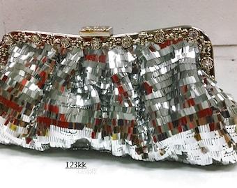 Silver color~New Sequin~Gorgeous Bridal Evening Clutch Bag