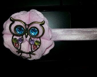 Clearance! Owl Headband, baby pink fits 18Mn-adult was 15.88