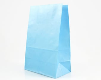 BLUE PAPER BAGS (Set of 12 Stand Up Bags) - Light Blue Stand up Paper Bags (20cm x 12.5cm)