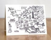 New York City Illustrated Map. Blank Card. 100% Percent Recycled Paper.