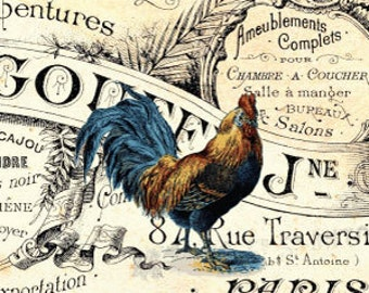 INSTANT DOWNLOAD - Country French Farmhouse Collage Sheet - Vintage Roosters Hen -  Writing - gift tags - shabby chic - 8.5 x 11 LARGE label