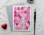 Funny Romantic Card, Abstract, Loving You is Like Having Diarrhea, Card for Husband, Wife, Boyfriend, Girlfriend, Significant Other, Partner