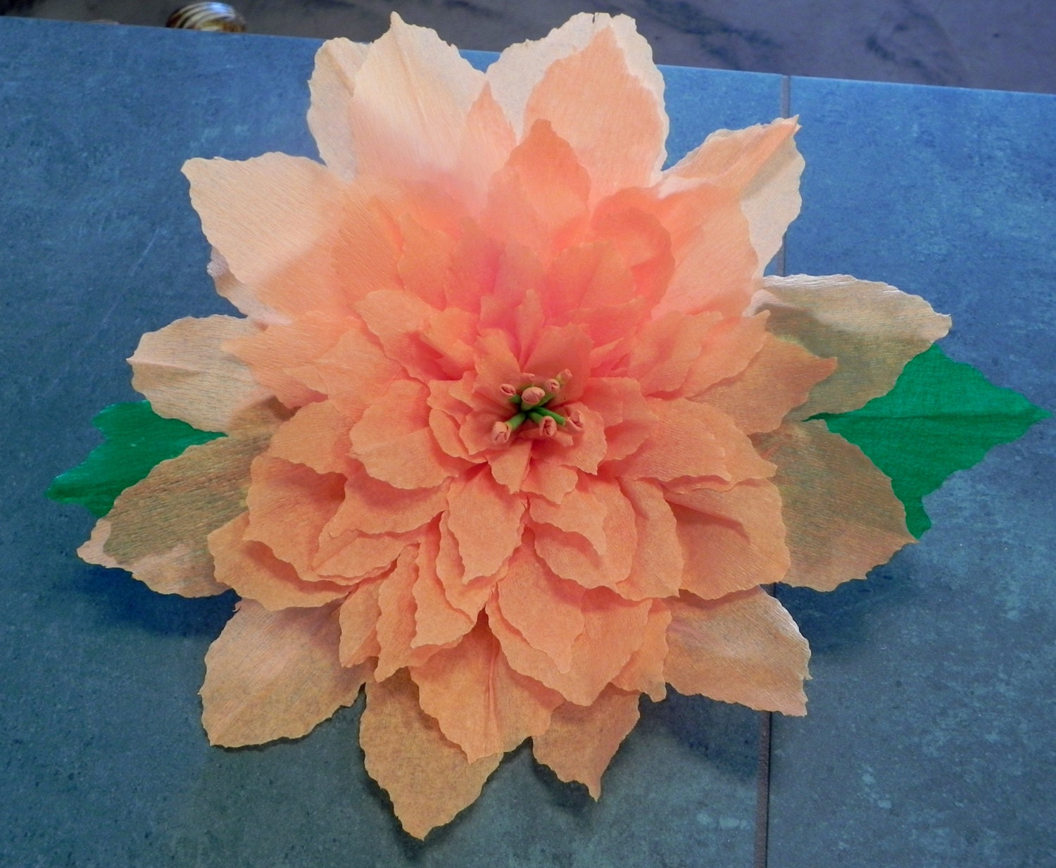 X large mexican crepe paper flower autum poinsettia 13 for Crepe paper wall flowers