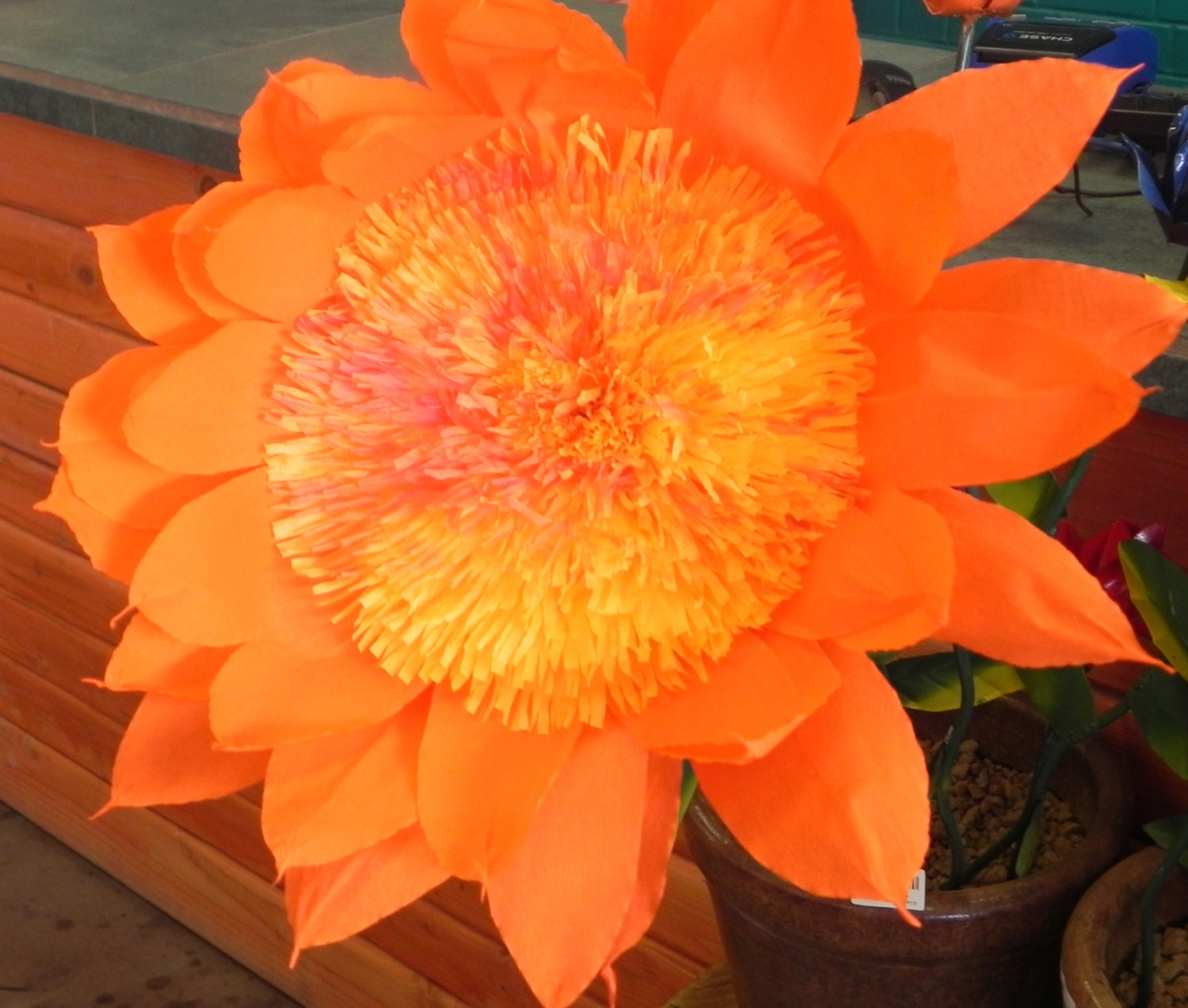 Daisy X Mexican Crepe Paper Flower Orange 13