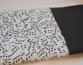 Black and White Music Notes Pillowcase; Black Treble Cleff Cuff; 100% Cotton