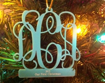 Personalized Custom Acrylic 3 Letter Monogram Our First Christmas Ornament Wedding Christmas Ornament