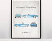 Customer's idea: Drive Fast. Be Reckless. Corvettes. Wall Art. Car Graphic. Digital Print. Typography A3 A2