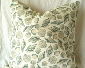 Nautical Pillow Cover - 18 x 18, One, Beach Pillow, Shell Pillow, Blue Cream Pillow, Beach Cushion, Seashell Cushion, Ocean Decor