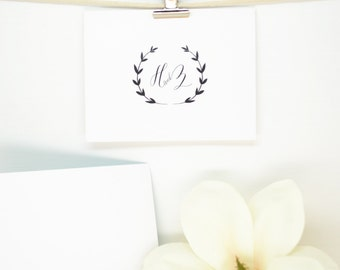 Calligraphy Wreath Custom Monogram Design & Notecards