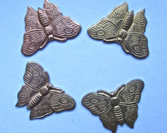 4 Brass and Copper Butterfly Stampings