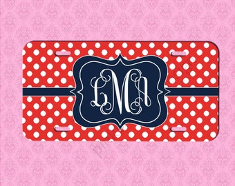 Monogram License Plate -  Red Polka Dot Car Tag - Personalized Car Tag Monogram License Plate