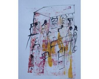 Kunstmarkt - Original Zeichnung beigem Künstlerpapier - mit Bambusfeder - farbige Tuschen - kostenloser  Versand rot orange