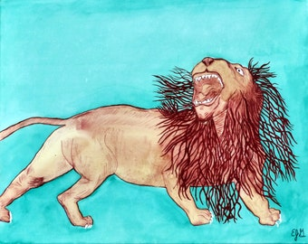 DaVinci's Lion - Eric Gunty - Edible Cake and Cupcake Topper For Birthday's and Parties! - D5393