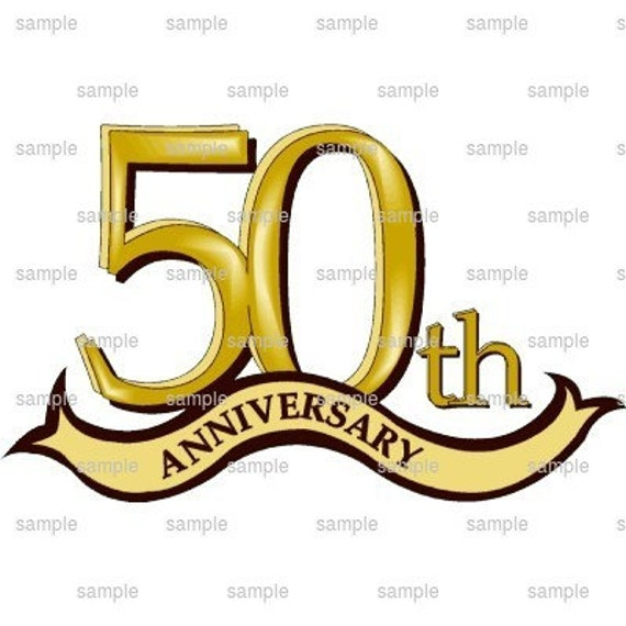 Happy 50th Anniversary - Edible Cake and Cupcake Topper For Birthday's and Parties! - D495