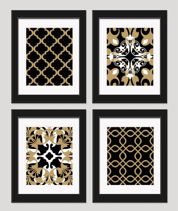 Items similar to black white gold art black gold wall art for Black and white wall art
