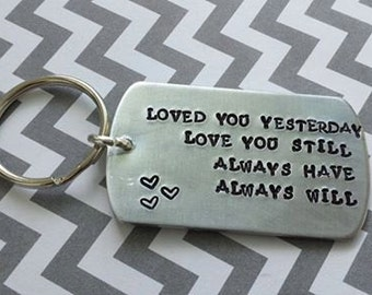 Hand Stamped Dog Tag Key Chain