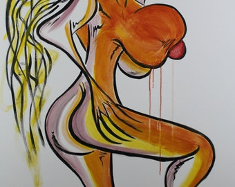 Original Acrylic Nude Painting on Canvas titled Approach With Caution by Eric Lafoy