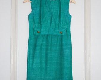 Turquoise tweed dress