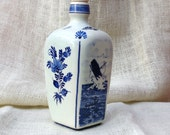 Unique square shaped Delft Blue Decanter with lighthouse and whale fishing scenes - TrellisLaneVintage