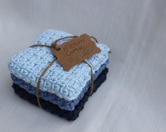 Crocheted Dishcloths, Washcloths, Set of 3 Baby Washcloths, Gifts Under 20.00, READY TO SHIP, Baby Shower Gift,
