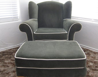 Wingback Chair and Ottoman  Olive Green Oversize~ Mohair type Velvet. - Very Large.