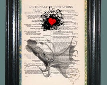 Deep Sea Squid with Red Heart Art - Vintage Dictionary Page Book Art Print Upcycled Art Print Collage Art Squid Print