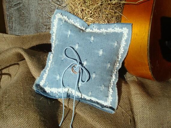 hippie wedding ring bearer pillow from light blue denim fabric