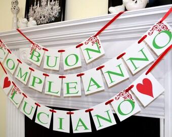 Buon Compleanno Banner, Italian Birthday banner garland, Italian birthday party, red, green white Birthday decoration, birthday sign