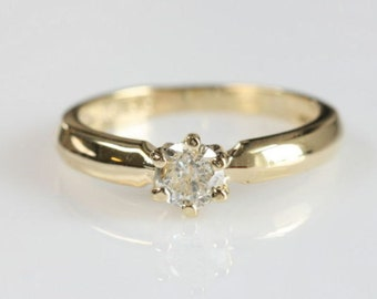 1/2 carat Diamond Engagement Ring, Solitaire 14K Yellow Gold Ring, Women Jewelry, Size Selectable