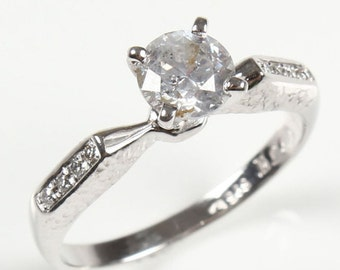 1/2 carat Diamond Engagement Ring, Solitaire 14K White Gold Ring,  Women Jewelry, Size Selectable