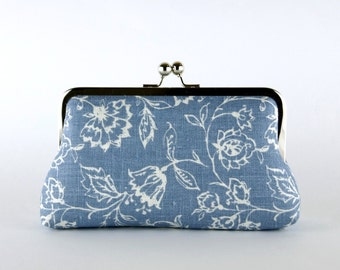 Bridesmaid Clutch, Wildflowers in Denim Blue Clutch, Silk Lining, Bridesmaid Gift, Wedding clutch, Denim collection