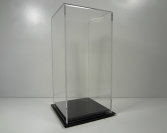"Doll figurine acrylic collectible display case 4 1/2"" x 4 1/2"" x 9 1/2"" inside dimension with black or clear acrylic base"