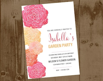 Watercolor flower Garden Party or Bridal Shower invitation PRINTABLE
