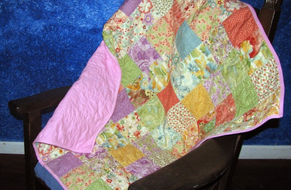 Baby Pink Patchwork Quilt Fits Toddler Bed