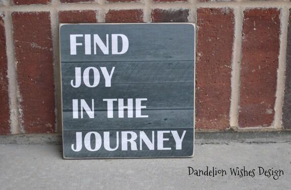 Find joy in the journey plaque 8x8 black chalkboard pallet look