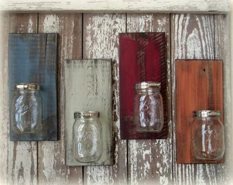 Mason Ball Jar Wall Sconce Reclaimed Wood - Pick a Color